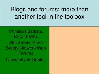 Blogs and forums: more than another tool in the toolbox