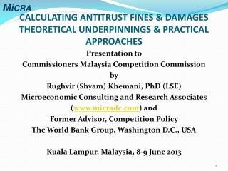 CALCULATING ANTITRUST FINES & DAMAGES THEORETICAL UNDERPINNINGS & PRACTICAL APPROACHES
