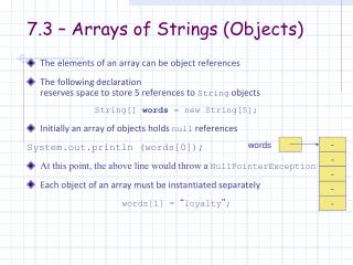 7.3 – Arrays of Strings (Objects)
