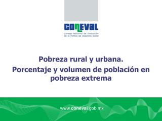 Pobreza rural y urbana.  Porcentaje y volumen de población en pobreza extrema