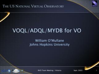 VOQL/ADQL/MYDB for VO