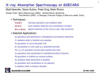 X-ray Absorption Spectroscopy at GSECARS