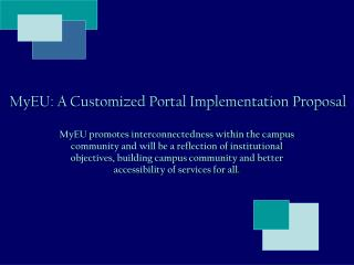 MyEU: A Customized Portal Implementation Proposal