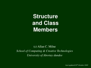 Structure and Class Members