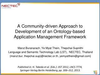 A Community-driven Approach to Development of an Ontology-based Application Management Framework