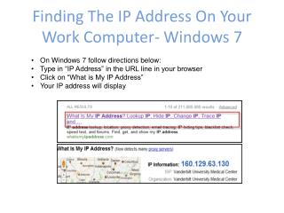 Finding The IP Address On Your Work Computer- Windows 7
