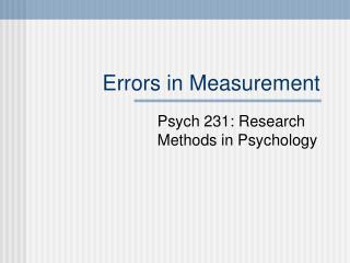 Errors in Measurement