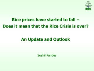 Rice prices have started to fall    Does it mean that the Rice Crisis is over    An Update and Outlook