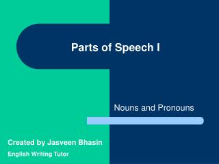 Parts of Speech I