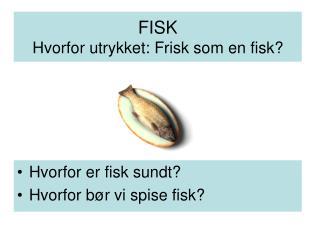 FISK Hvorfor utrykket: Frisk som en fisk?