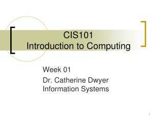 CIS101 Introduction to Computing