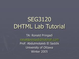 SEG3120 DHTML Lab Tutorial