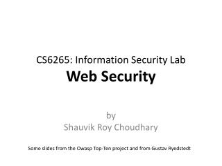 CS6265: Information Security Lab Web Security