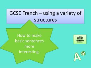 GCSE French – using a variety of structures