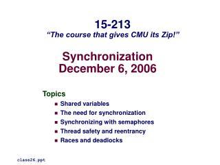 Synchronization December 6, 2006