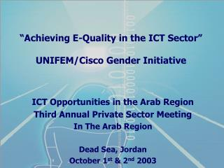 """""""Achieving E-Quality in the ICT Sector"""" UNIFEM/Cisco Gender Initiative"""