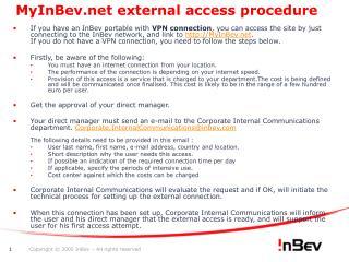 MyInBev external access procedure