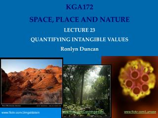 KGA172 SPACE, PLACE AND NATURE LECTURE 23  QUANTIFYING INTANGIBLE VALUES Ronlyn Duncan
