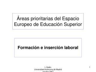 �reas prioritarias del Espacio Europeo de Educaci�n Superior