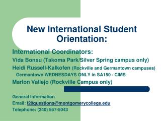 New International Student Orientation: