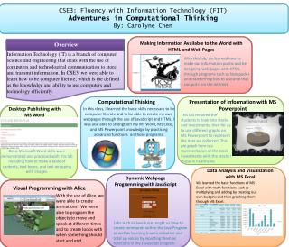 CSE3: Fluency with Information Technology (FIT) Adventures in Computational Thinking