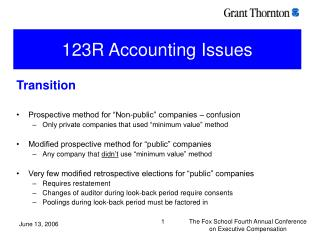 123R Accounting Issues