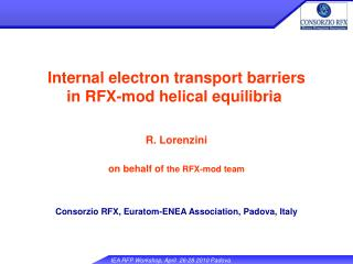 Internal electron transport barriers           in RFX-mod helical equilibria