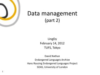 Data management (part 2)