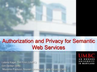 Authorization and Privacy for Semantic Web Services