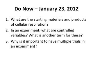 Do Now � January 23, 2012