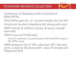 TELEPHONE REVENUE COLLECTION