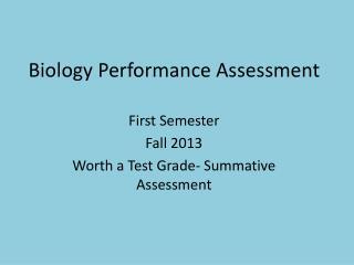 Biology Performance Assessment