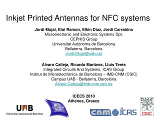 Inkjet Printed Antennas for NFC systems