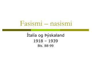 Fasismi – nasismi