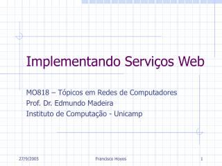 Implementando Serviços Web