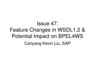 Issue 47: Feature Changes in WSDL1.2 & Potential Impact on BPEL4WS