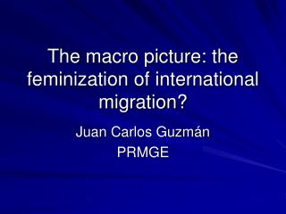 The macro picture: the feminization of international migration