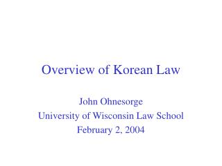 Overview of Korean Law