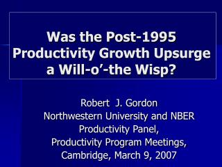 Was the Post-1995 Productivity Growth Upsurge  a Will-o'-the Wisp?