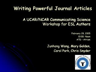 Writing Powerful Journal Articles