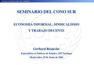 SEMINARIO DEL CONO SUR ECONOMIA INFORMAL, SINDICALISMO   Y TRABAJO DECENTE Gerhard Reinecke
