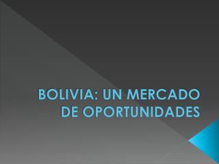 BOLIVIA: UN MERCADO DE OPORTUNIDADES