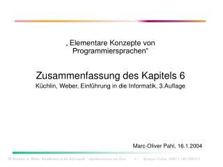 """""""  Elementare Konzepte von Programmiersprachen"""" Zusammenfassung des Kapitels 6"""