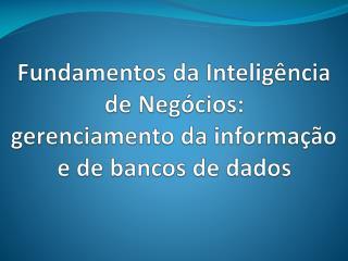 Fundamentos da Intelig�ncia de Neg�cios: gerenciamento da informa��o e de bancos de dados