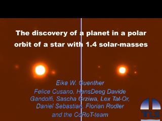 The discovery of a planet in a polar orbit of a star with 1.4 solar-masses