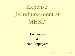 Expense Reimbursement at MESD