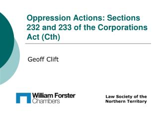 Oppression Actions: Sections 232 and 233 of the Corporations Act Cth