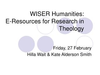 WISER Humanities:  E- Resources for Research in Theology