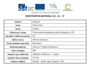 Identifikátor materiálu:  EU -  12  -   17