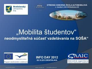 INFO DAY 2012 09.10.2012 BRATISLAVA